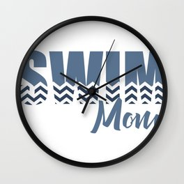 Chevron Swim Mom Wall Clock