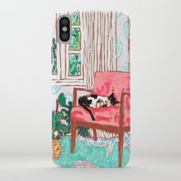 Little Naps - Tuxedo Cat Napping in a Pink Mid-Century Chair by the Window iPhone Case