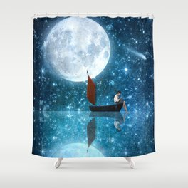 The Moon and Me v2 Shower Curtain