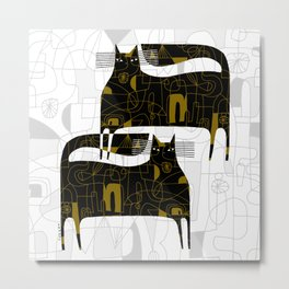 DOODLE CATS Metal Print
