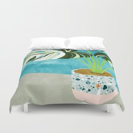 Variegated Monstera #tropical #painting #nature Duvet Cover