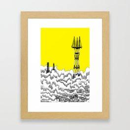 San Francisco - Sutro Tower (yellow sky) Framed Art Print