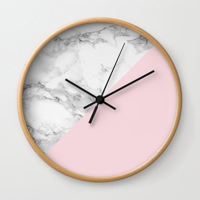 Marble + Pastel Pink Wall Clock