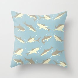 Many, Many Sharks Throw Pillow