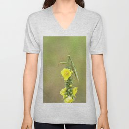 Praying Mantis on top of a yellow flower Unisex V-Neck