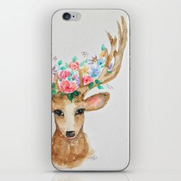 Deer with Flower Crown iPhone Skin
