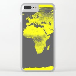 world map : Yellow & Gray Clear iPhone Case