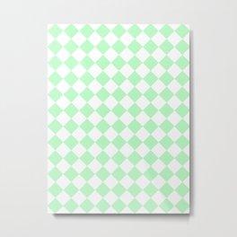 Diamonds - White and Light Green Metal Print