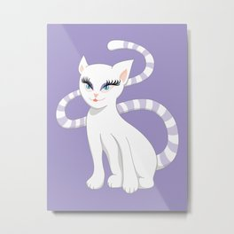 Pretty white cartoon kitty cat Metal Print