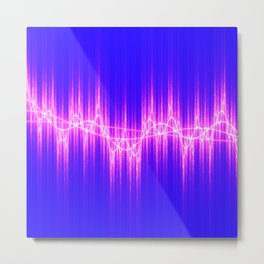 Blue and pink faux graphic equalizer music sound waveform effect Metal Print