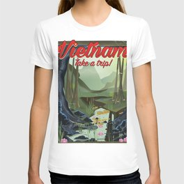Vietnam Jungle Cave cartoon travel poster T-shirt