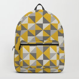 Retro Triangle Pattern in Yellow and Grey Backpack