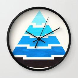 Cerulean Blue Gouache Painting Aztec Minimalist Abstract Geometric Pattern Pyramid Wall Clock