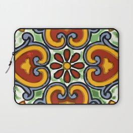 Talavera Mexican tile inspired bold design in green, gold, red and blue Laptop Sleeve