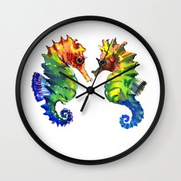 Seahorses, two animals rainbow colored art Wall Clock