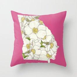 Georgia in Flowers Throw Pillow