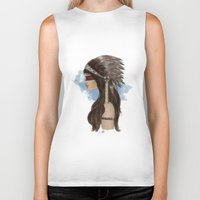 native american Biker Tanks featuring Native american by Erika Leiva