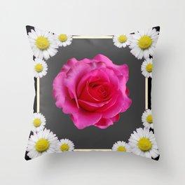 Black-Grey Color Shasta Daisies & Rose Pattern Garden Art Throw Pillow