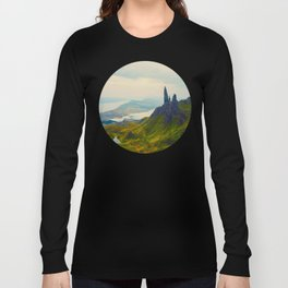 Mid Century Modern Round Circle Photo Magical Landscape Volcanic Mountains Rolling Green Hills Long Sleeve T-shirt