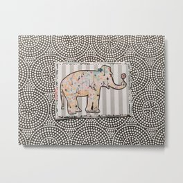 Elephant + Stripes Metal Print