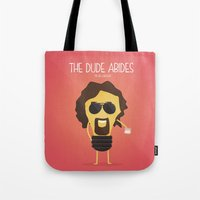 big lebowski Tote Bags featuring  The Big Lebowski by BajuKhaju