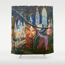 Luna Park, Coney Island Amusement Park, New York City Skyline by Joseph Stella Shower Curtain