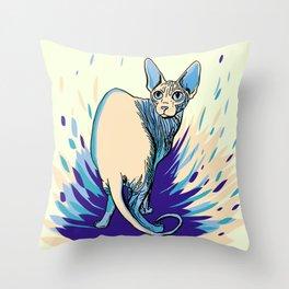 Sphynx Cat - Blue Purple Vanilla - Cat Lover Throw Pillow