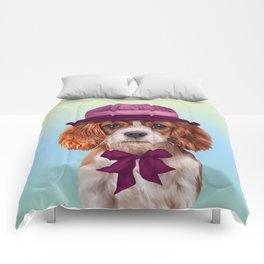 Drawing dog breed Cavalier King Charles Spaniel Comforters