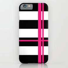 Black, white and neon pink stripes Slim Case iPhone 6s