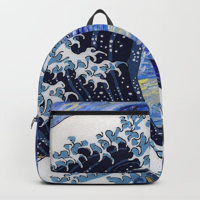 "Hokusai,""The Great Wave off Kanagawa"" + van Gogh,""Starry night"" Rucksack"