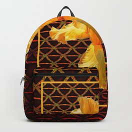 COFFEE BROWN ART PATTERN GOLDEN BEARDED IRIS Backpack