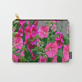 ENGLISH COTTAGE  PINK HOLLYHOCKS  GREEN & GREY GARDEN Carry-All Pouch