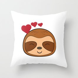 """""""Cute Kawaii Sloth With A Heart"""" tee design for adorable wild forest lovers and fanatic like you! Throw Pillow"""