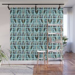 Aqua Grid Wall Mural
