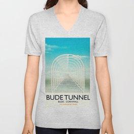 Bude Tunnel - Cornwall travel poster Unisex V-Neck