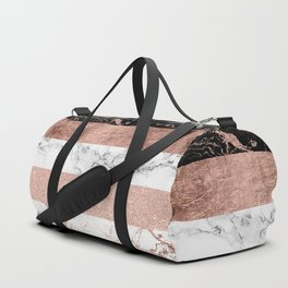 Modern chic color block rose gold marble stripes pattern Duffle Bag