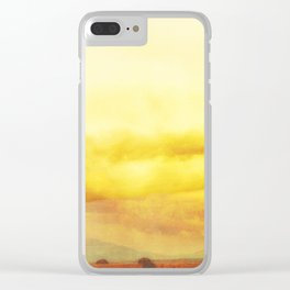 Modern Desert Sky Ladscape, Yellow Clouds, New Mexico, Minmal Clear iPhone Case