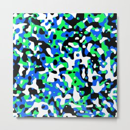 Uncovered Camouflage Neon Blue Metal Print