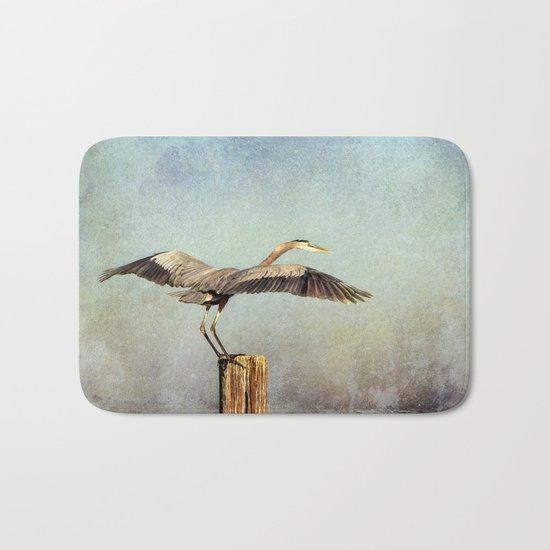 Blue Heron Landing Bath Mat