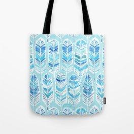 SEABIRD Blue Boho Feathers Tote Bag
