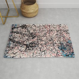 THREE BLUE ROSES - Jackson Pollock style art Rug
