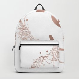 Letter S Rose Gold Pink Initial Monogram Backpack
