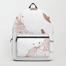 Letter S Rose Gold Pink Initial Monogram Backpack