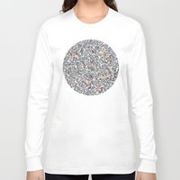 bedding Long Sleeve T-shirts featuring Navy Garden - floral doodle pattern in cream, dark red & blue by micklyn