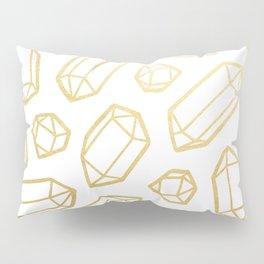 Gold and White Gemstone Pattern Pillow Sham