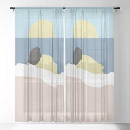Feelings into sunset Sheer Curtain