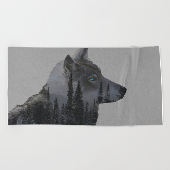 Winter Wolf Beach Towel