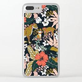 Animal print dark jungle Clear iPhone Case