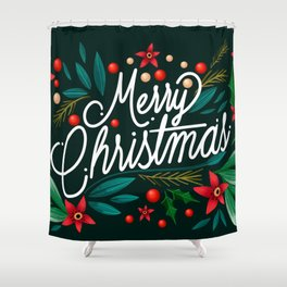 Merry Christmas Floral Greeting Shower Curtain