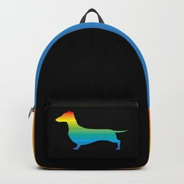 Rainbow Dachshund Black Backpack
